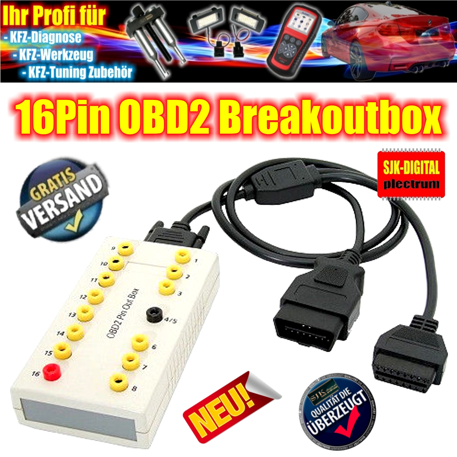 obd2 eobd 16pin diagnose breakout box verkabelung. Black Bedroom Furniture Sets. Home Design Ideas